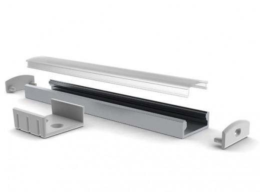 SLIMLINE WIDE - 8 mm - SREBRNY ANODOWANY PROFIL ALUMINIOWY LED - 2 m