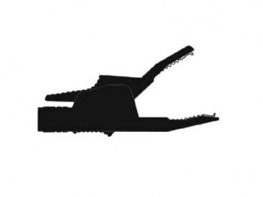 INSULATED CROCODILE CLIPS 4mm 34A, CONTACT PROTECTED / BLACK (AK2B 2540)