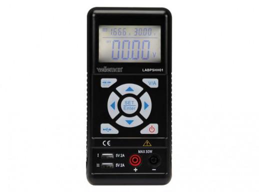 RĘCZNY ZASILACZ IMPULSOWY LABORATORYJNY 0-30 V DC / MAKS. 0-3,75 A Z WYŚWIETLACZEM LCD