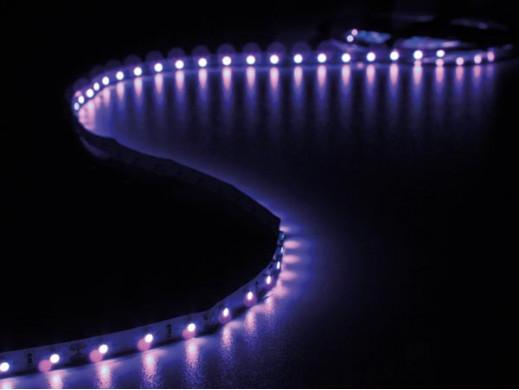 ZESTAW: ELASTYCZNA TAŚMA LED + ZASILACZ - ULTRAFIOLET - 300 diod LED - 5 m - 12 VDC - BEZ POWŁOKI