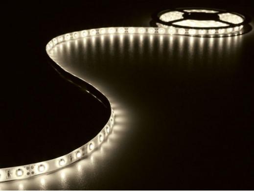 ZESTAW: ELASTYCZNA TAŚMA LED + ZASILACZ - CIEPŁY BIAŁY - 300 diod LED - 5 m - 12 VDC - BEZ POWŁOKI