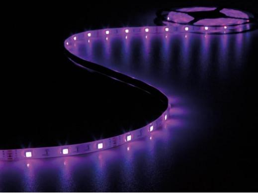 ZESTAW Z ELASTYCZNYMI TAŚMAMI LED (STEROWANE DŹWIĘKIEM), STEROWNIKIEM I ZASILACZEM - RGB - 150 diod LED - 5m - 12Vdc