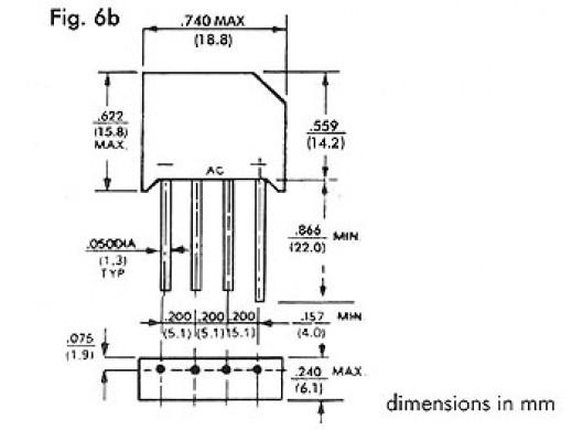 BRIDGE RECTIFIER 200V-6A (RS603)