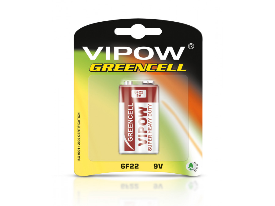Baterie VIPOW GREENCELL 6F22 BLISTER