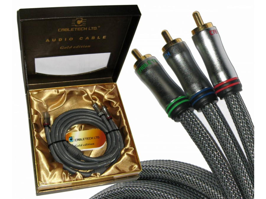 Kabel 3RCA-3RCA Component 1.8m Cabletech Gold Edition