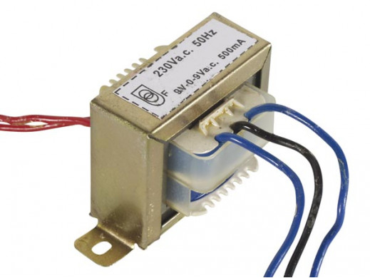 Transformator 9V, 2 x  500mA