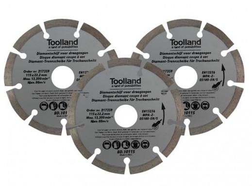 DIAMOND DISC SET - 115 mm - SEGMENTED - 3 pcs
