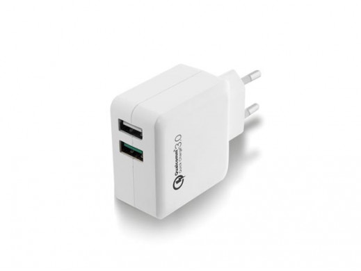 EWENT - USB CHARGER 110 - 240 VAC 2 PORTS & QUICKCHARGE QUALCOMM 3.0