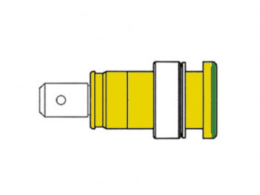 BUILT-IN SAFETY SOCKET 4mm, CONTACT PROTECTED / YELLOW + GREEN (SEB 2620-F6,3)