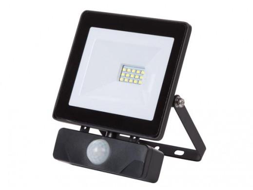 ZEWNĘTRZNY REFLEKTOR LED - 10 W, NEUTRALNY BIAŁY - KOLOR CZARNY - PIR