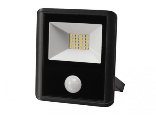 ZEWNĘTRZNY REFLEKTOR LED - 20 W, NEUTRALNY BIAŁY - KOLOR CZARNY - PIR