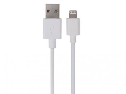 KABEL, MĘSKIE ZŁĄCZE USB 2.0 - MĘSKIE ZŁĄCZE MFI LIGHTNING 8-PINOWE - BIAŁY - 2 m