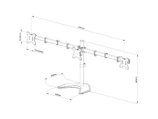 """UCHWYT BIURKOWY DO 3 MONITORÓW LED/LCD 13-27"""" L-22N ART"""