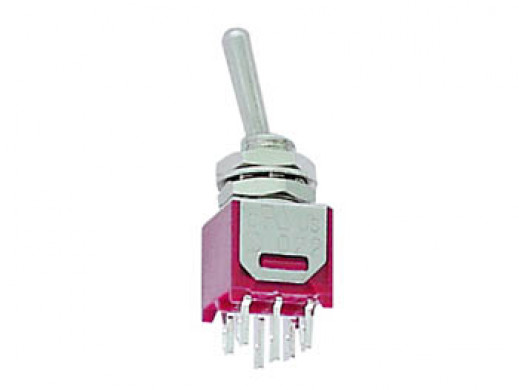 VERTICAL SUBMINIATURE TOGGLE SWITCH DPDT ON-(ON)