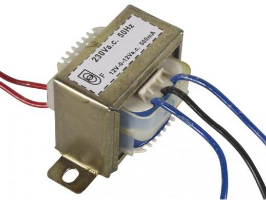 Transformator 12V, 2 x 500mA