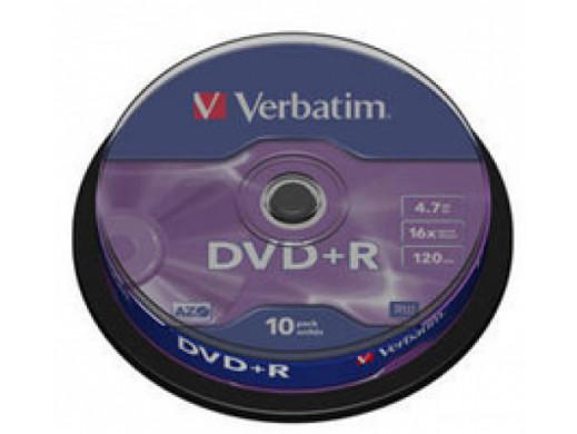 DVD+R VERBATIM 16x Cake10 Matte Silver 43498