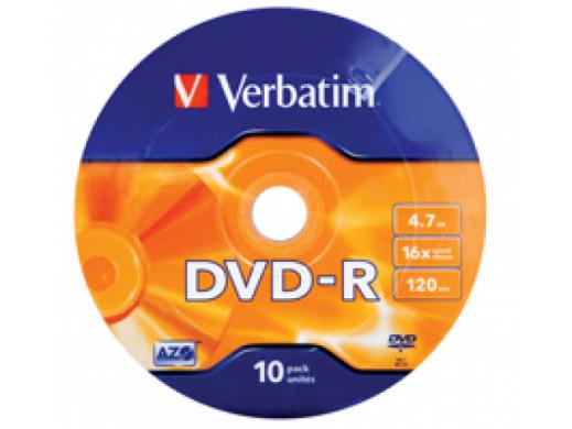 DVD-R VERBATIM 4,7GB 16x WRAP 10pk 43729