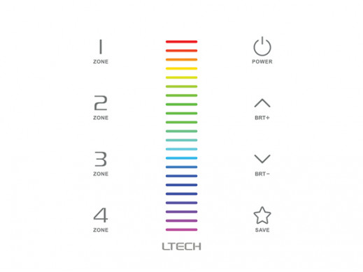 MULTI-ZONE SYSTEM - RGB LED TOUCH PANEL DIMMER - DMX / RF - 4 ZONES