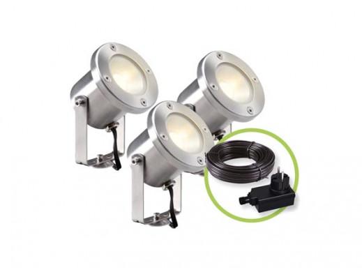 GARDEN LIGHTS - ZESTAW CATALPA - REFLEKTOR PUNKTOWY - 12 V - 3 szt. - 190 lm - 3 W - 3000 K
