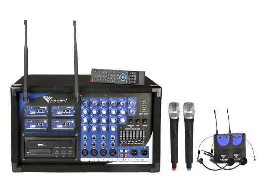 Mikrofon PA-180 UHF 4 kanały (2 mikrofony do ręki+ 2 nagłowne)