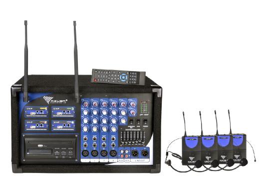 Mikrofon PA-180 UHF 4 kanały (4 mikrofony nagłowne)
