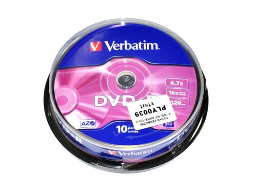 DVD+R VERBATIM 4,7GB 16X CAKE-10szt.